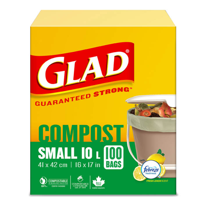Glad® 100% Compostable Bags – Small 10 Litres, Lemon Scent, 100 Compost Bags