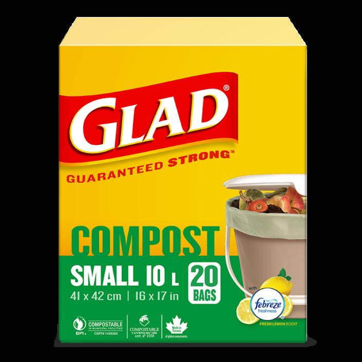 Petits sacs 100 % compostables de Glad au parfum de citron frais, boîte de 20 petits sacs de 10 L