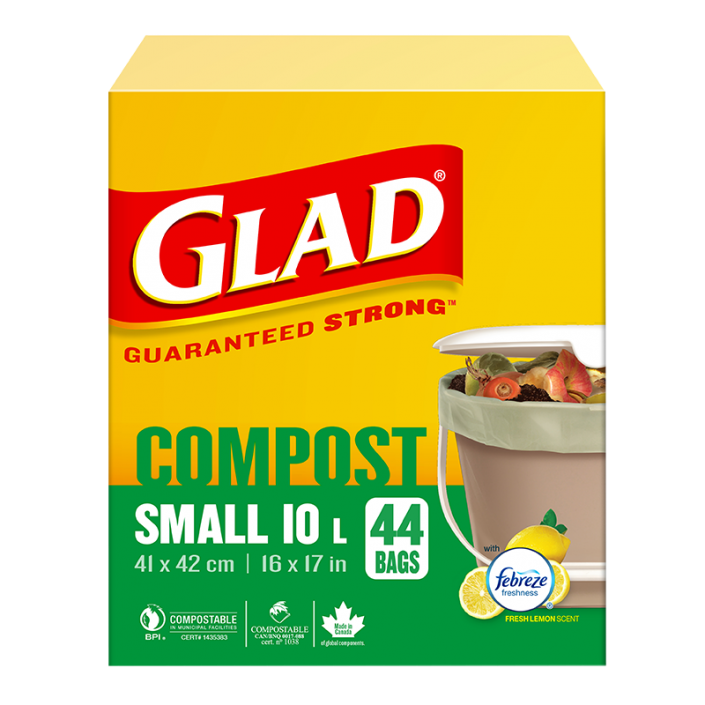 Glad® 100% Compostable Bags – Small 10 Litres, Lemon Scent, 44 Compost Bags