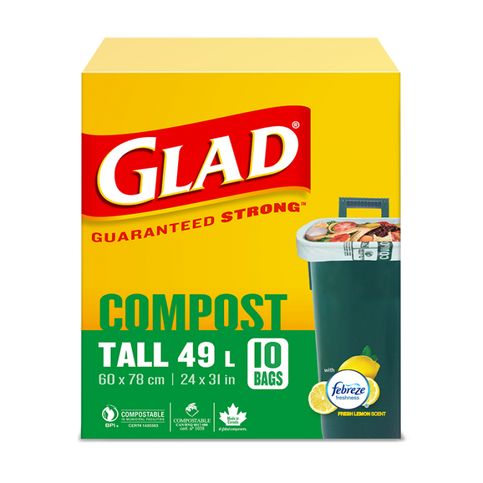 Glad® 100% Compostable Bags – Tall 49 Litres, Lemon Scent, 10 Compost Bags