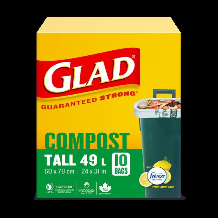 Longs sacs 100 % compostables de Glad au parfum de citron frais, boîte de 10 longs sacs de 49 L