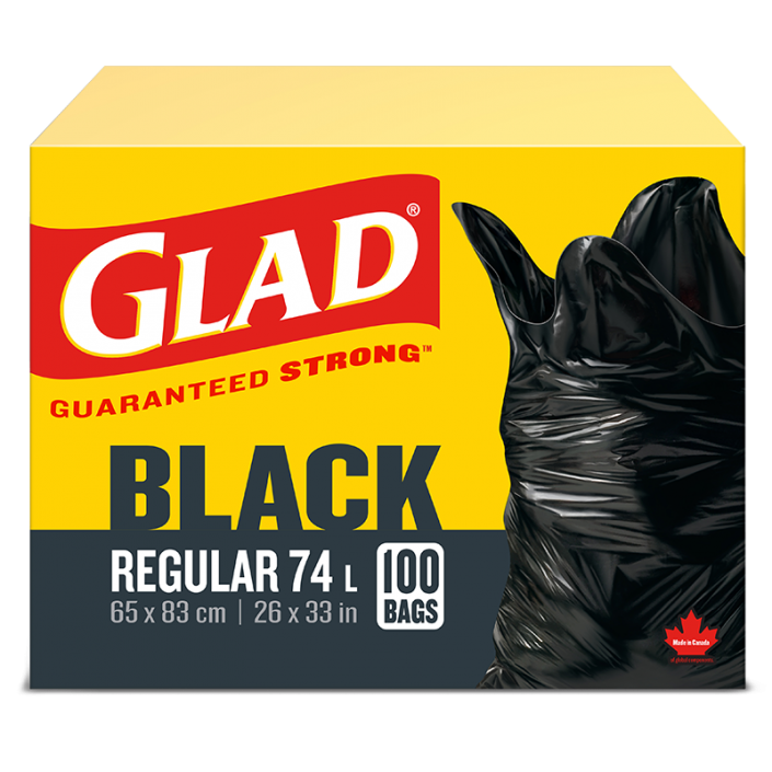 Glad® Black Garbage Bags, Regular 74 Litres, 100 Trash Bags