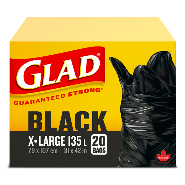 Glad® Black Garbage Bags, Extra-Large 135 Litres, 20 Trash Bags