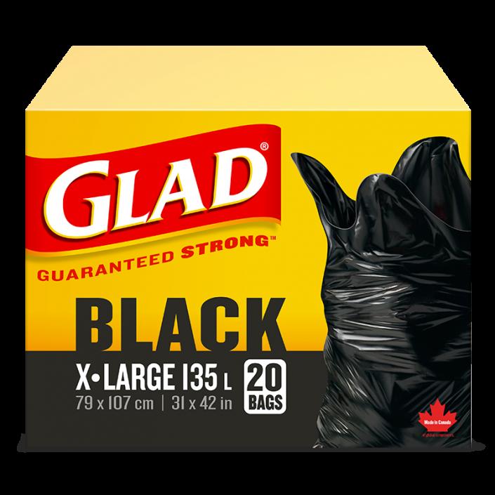 Très grands sacs à ordures noirs de Glad, boîte de 20 sacs à ordures de 135 L