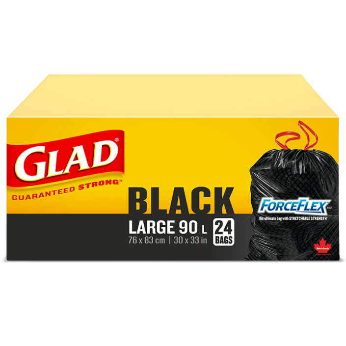 Glad® Black Garbage Bags, Large 90 Litres, ForceFlex, Drawstring, 24 Trash Bags