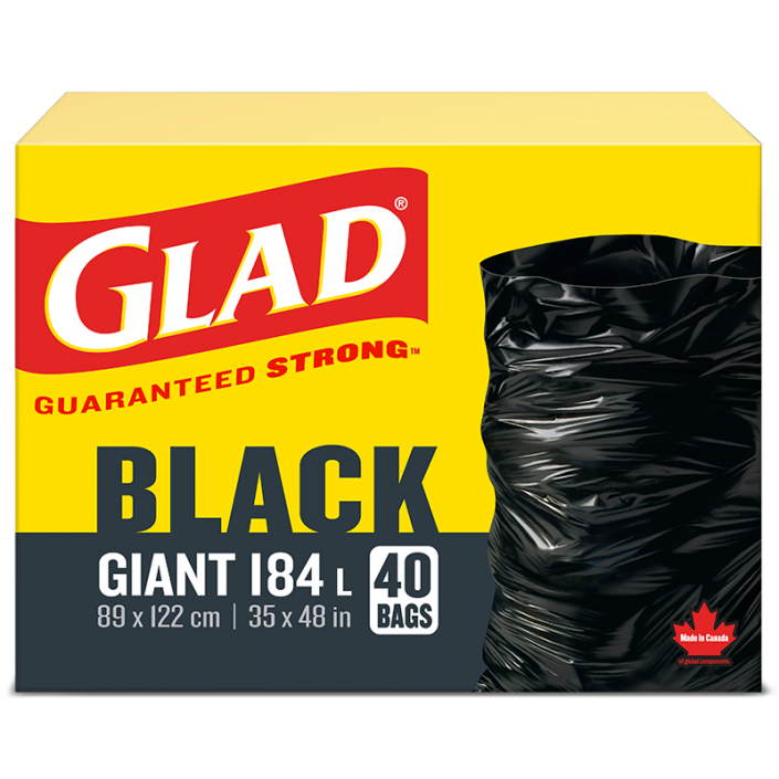 Sacs à ordures noirs géants de Glad, boîte de 40 sacs à ordures de 184 L