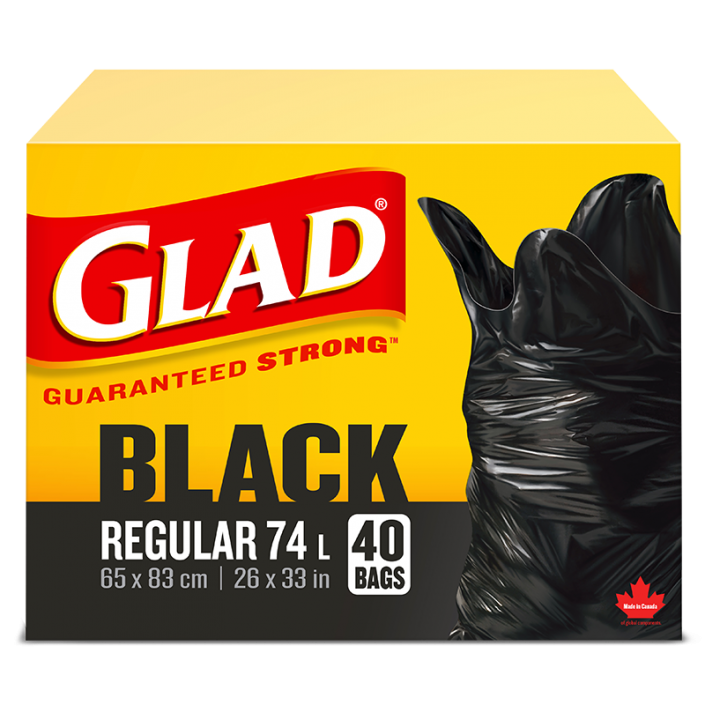 Glad® Black Garbage Bags , Regular 74 Litres, 10 Trash Bags