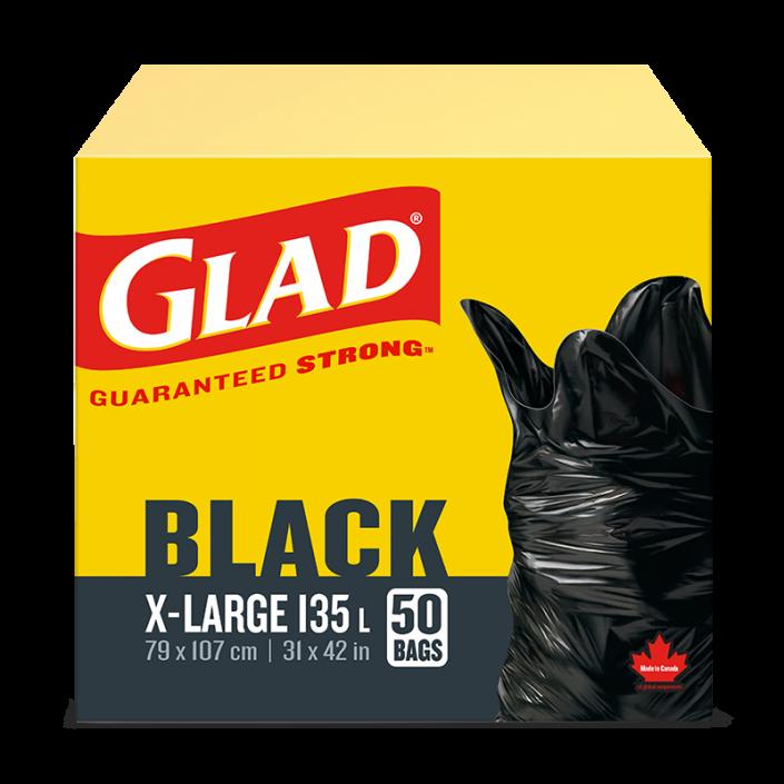 Très grands sacs à ordures noirs de Glad, boîte de 50 sacs à ordures de 135 L