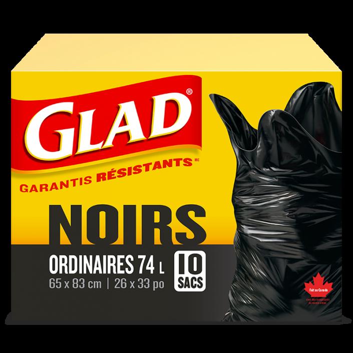 Sacs à ordures noirs ordinaires de Glad®, boîte de 10 sacs à ordures de 74 L