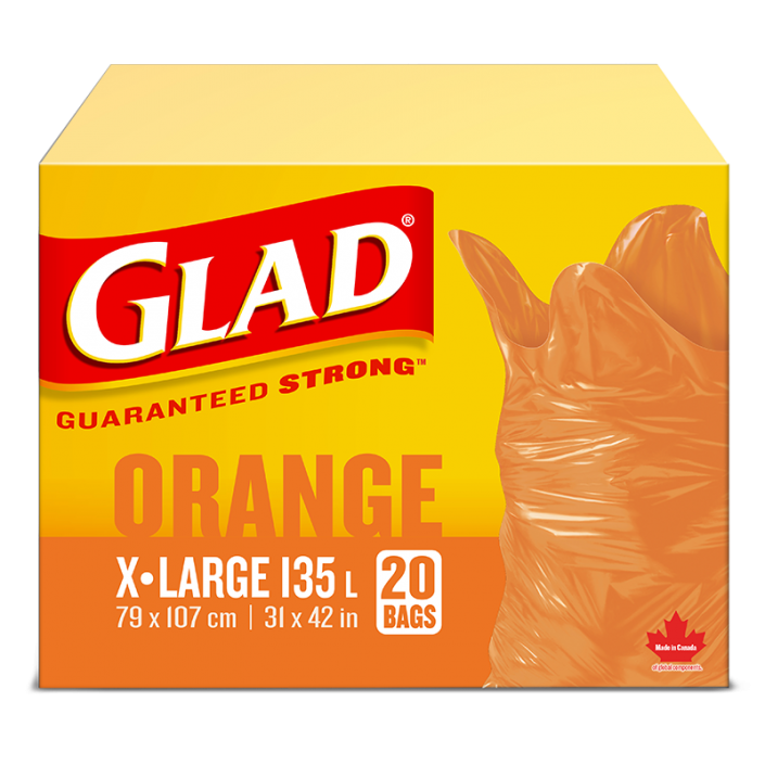 Glad® Orange Garbage Bags – Extra-Large 135 Litres, 20 Trash Bags