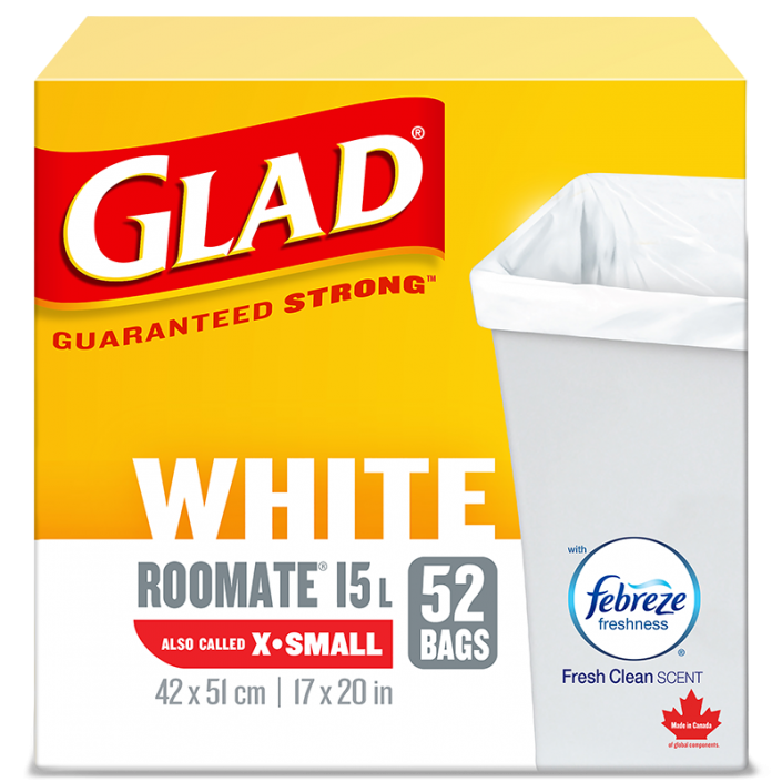Glad® White Garbage Bags, X-Small 15 Litres, Febreze Fresh Clean Scent, 52 trash bags