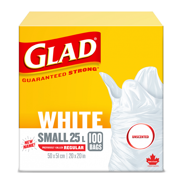 Glad® White Garbage Bags, Small 25 Litres, Unscented, 100 trash bags