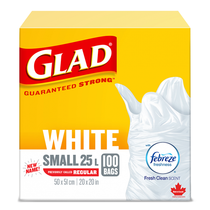 Glad® White Garbage Bags, Small, 25 Litres, Febreze Fresh Clean Scent, 100 trash bags