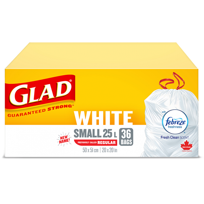 Glad® White Garbage Bags, Small, 25 Litres, Febreze Fresh Clean Scent, 36 trash bags