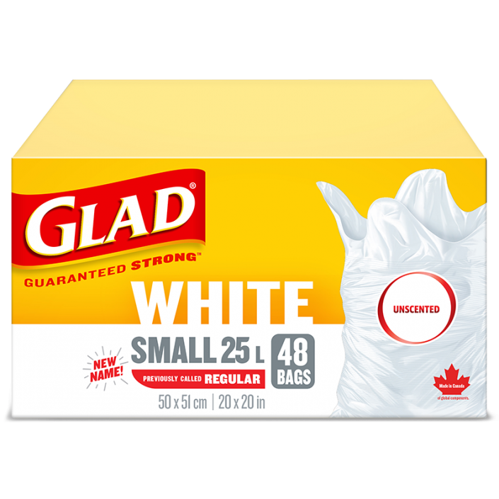 Glad® White Garbage Bags, Small, 25 Litres, Unscented, 48 trash bags