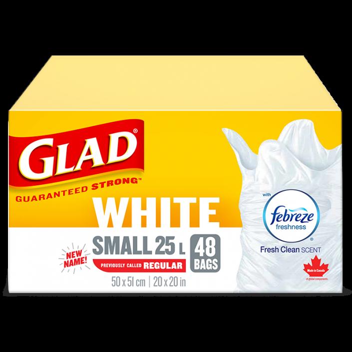 Petits sacs à ordures blancs de Glad avec senteur fraîche et propre de Febreze fraîcheur, boîte de 48 sacs à ordures de 25 L