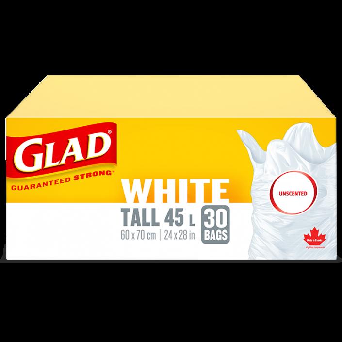 Sacs à ordures blancs longs non parfumés de Glad, boîte de 30 sacs à ordures de 45 L