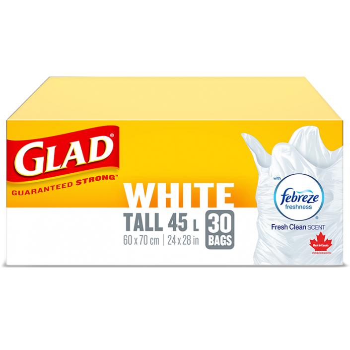 Glad® White Garbage Bags, Tall, 45 Litres, Febreze Fresh Clean Scent, 30 trash bags