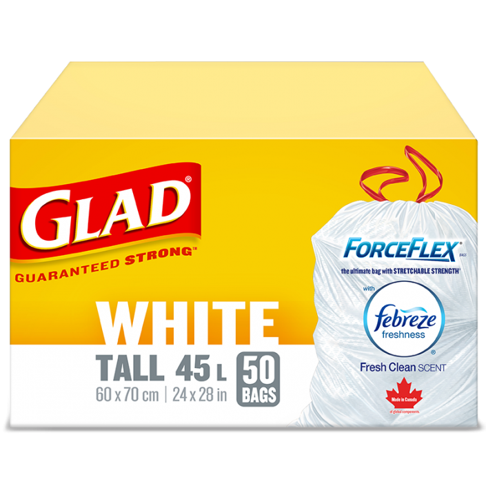 Glad® White Garbage Bags, Tall, 45 Litres, ForceFlex, Drawstring with Febreze Fresh Clean Scent, 50 trash bags