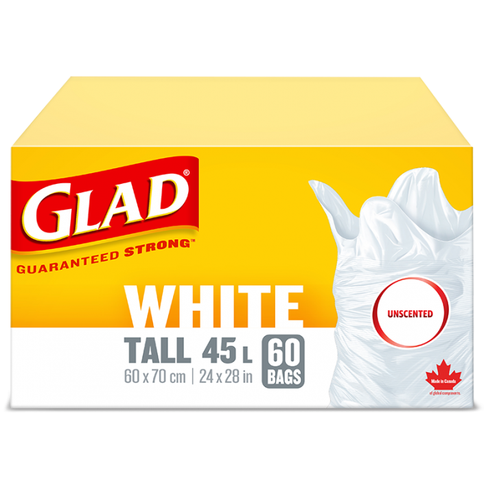 Glad® White Garbage Bags, Tall 45 Litres, Unscented, 60 trash bags
