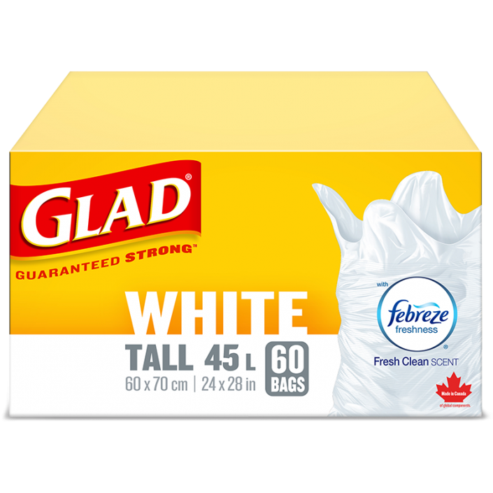 Glad® White Garbage Bags, Tall, 45 Litres, Febreze Fresh Clean Scent, 60 trash bags