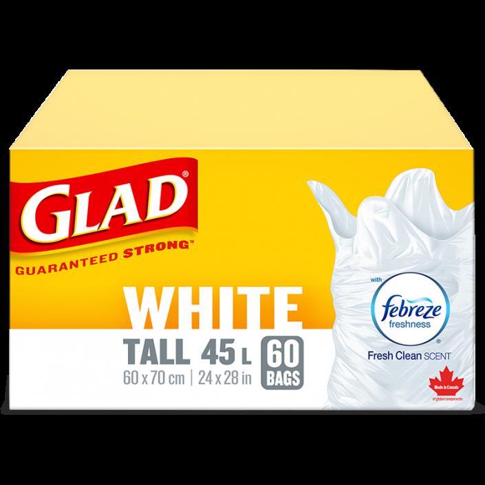 Sacs à ordures blancs longs de Glad avec senteur fraîche et propre de Febreze fraîcheur, boîte de 60 sacs à ordures de 45 L