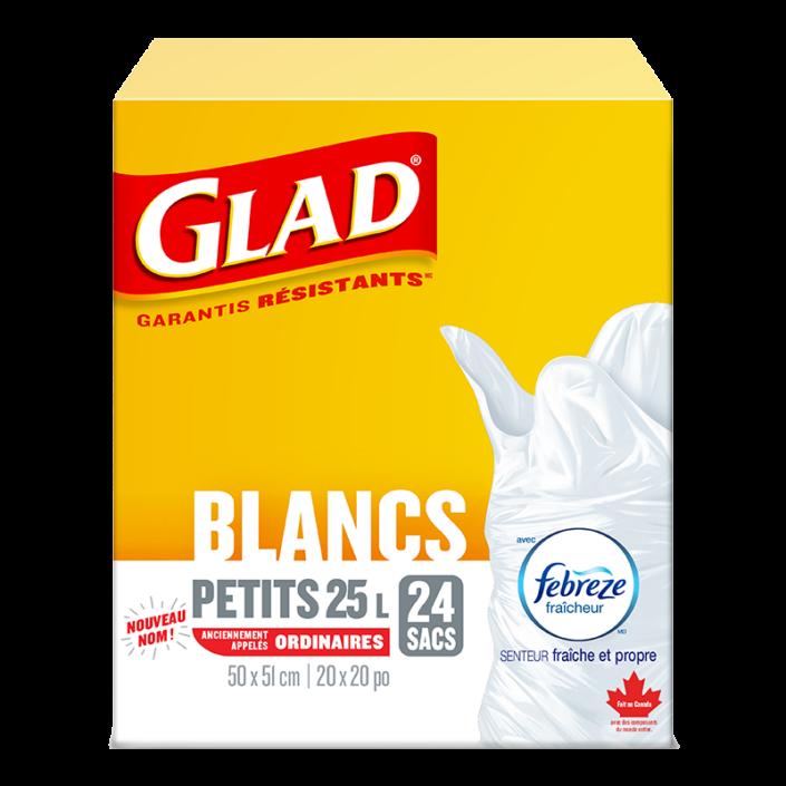 Petits sacs à ordures blancs de Glad avec senteur fraîche et propre de Febreze fraîcheur, boîte de 24 sacs à ordures de 25 L