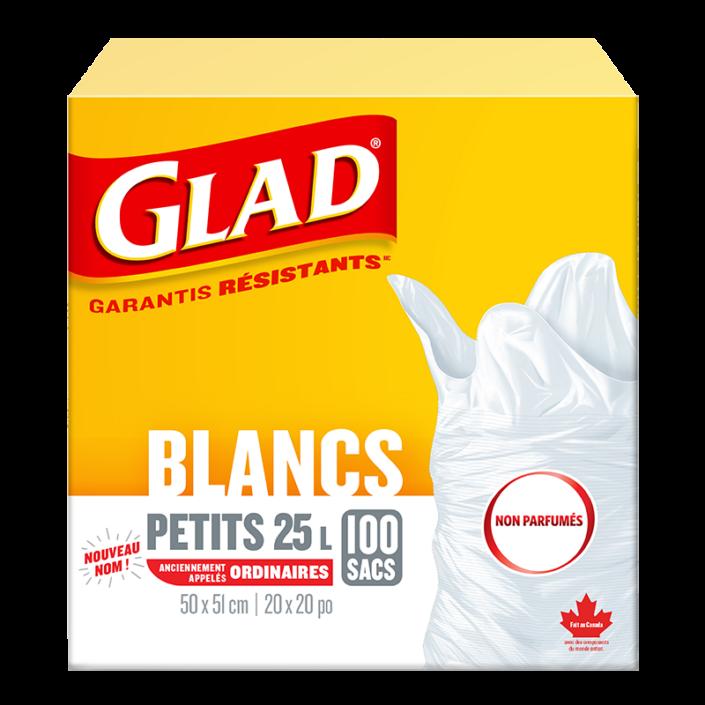 Petits sacs à ordures blancs non parfumés de Glad, boîte de 100 sacs à ordures de 25 L