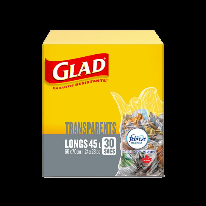 Sacs à ordures transparents longs de Glad avec senteur fraîche et propre de Febreze fraîcheur, boîte de 30 sacs à ordures de 45 L