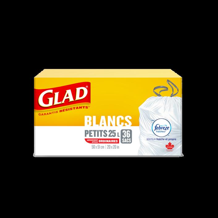 Petits sacs à ordures blancs de Glad à cordon coulissant avec senteur fraîche et propre de Febreze fraîcheur, boîte de 36 sacs à ordures de 25 L