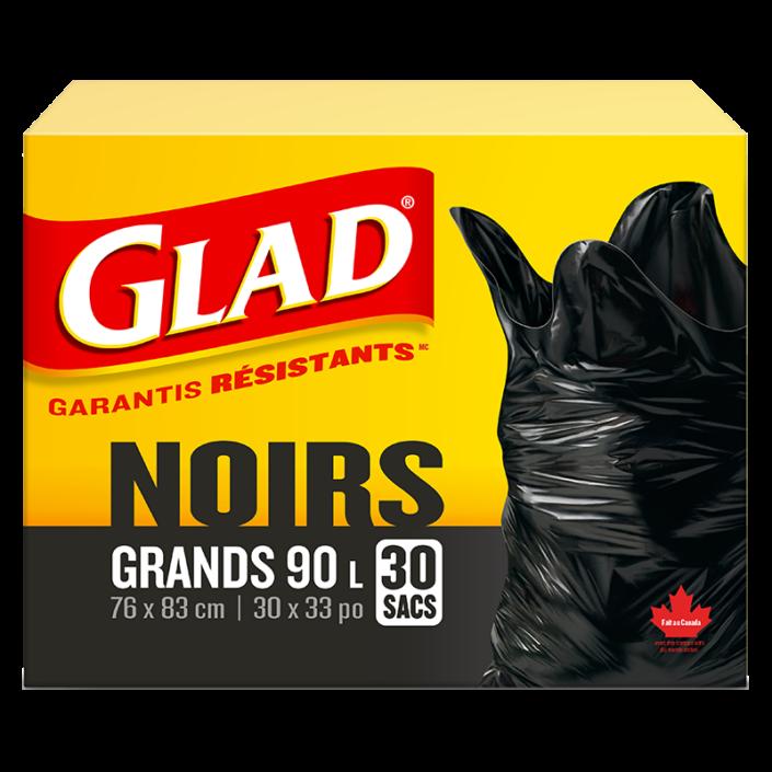 Grands sacs à ordures noirs de Glad, boîte de 30 sacs à ordures de 90 L