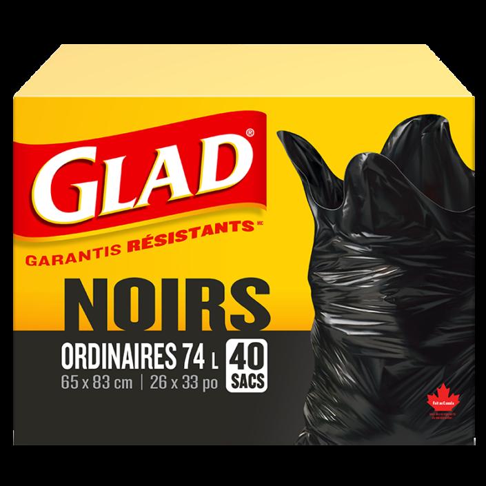 Sacs à ordures noirs ordinaires de Glad, boîte de 40 sacs à ordures de 74 L