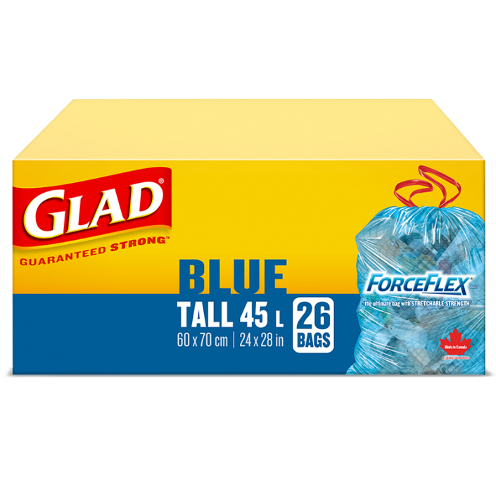Glad® Blue Recycling Bags, Tall 45 Litres, ForceFlex, Drawstring, 26 Trash Bags