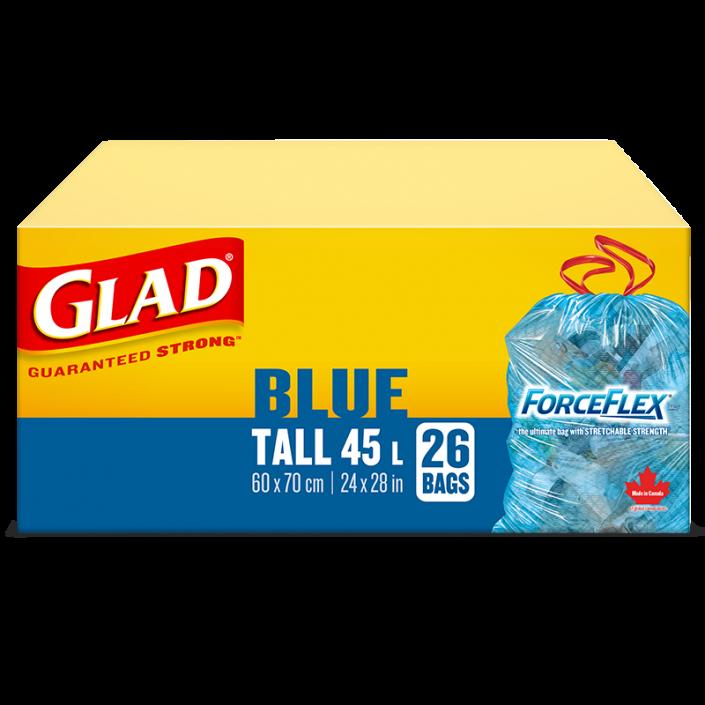 Sacs bleus longs ForceFlex de Glad à cordon coulissant pour la récupération, boîte de 26 sacs à ordures de 45 L