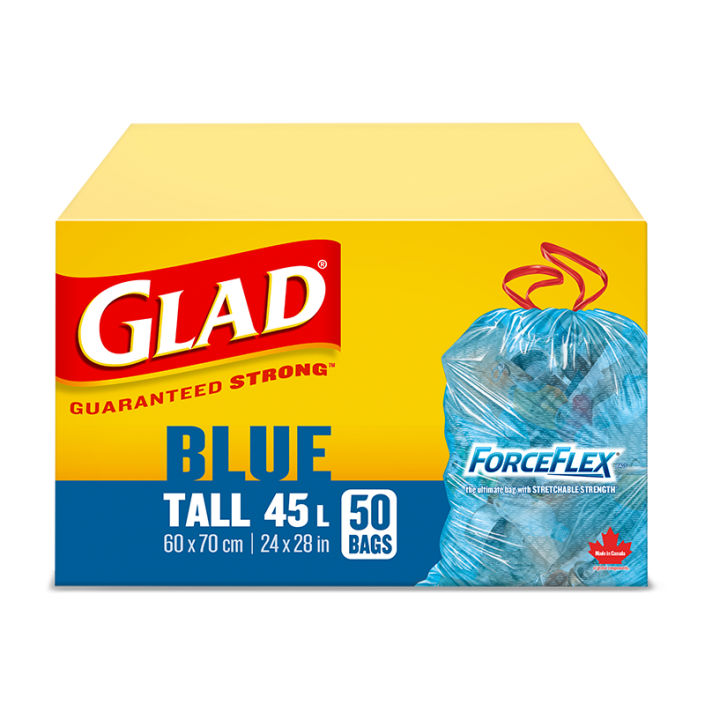 Glad® Blue Recycling Bags, Tall 45 Litres, ForceFlex, Drawstring, 50 Trash Bags