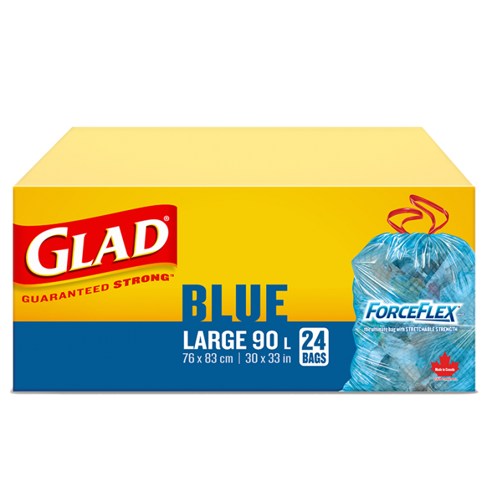 Glad® Blue Recycling Bags, Large 90 Litres, ForceFlex, Drawstring, 24 Trash Bags