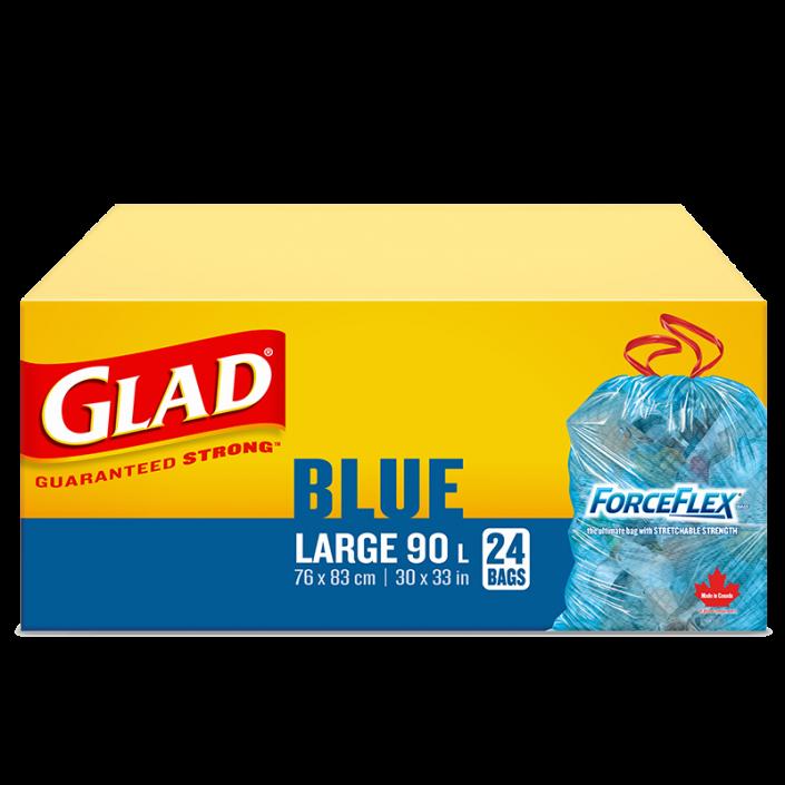 Grands sacs bleus ForceFlex de Glad à cordon coulissant pour la récupération, boîte de 24 sacs à ordures de 90 L