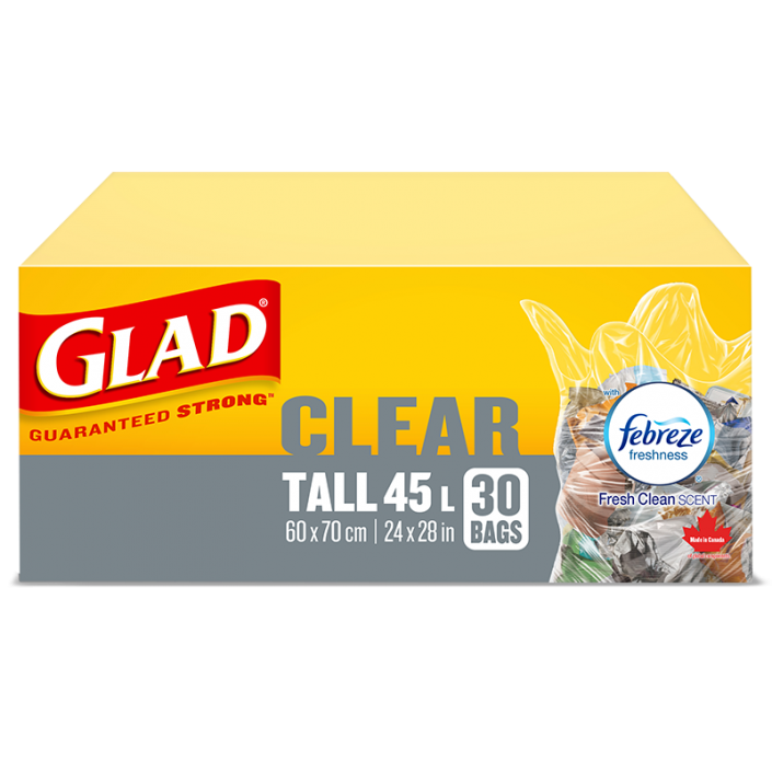 Glad® Clear Garbage Bags, Tall 45 Litres, Febreze Fresh Clean Scent, 30 Trash Bags
