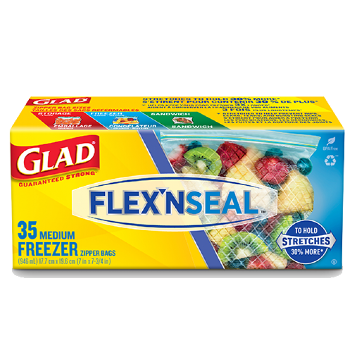 Glad® FLEX'N SEAL™ Freezer Storage Bags, Medium, 35 count