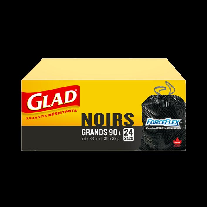 Grands sacs à ordures noirs ForceFlex de Glad à cordon coulissant, boîte de 24 sacs à ordures de 90 L