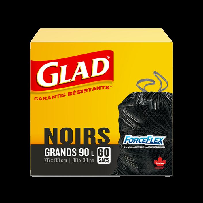 Grands sacs à ordures noirs ForceFlex de Glad à cordon coulissant, boîte de 60 sacs à ordures de 90 L