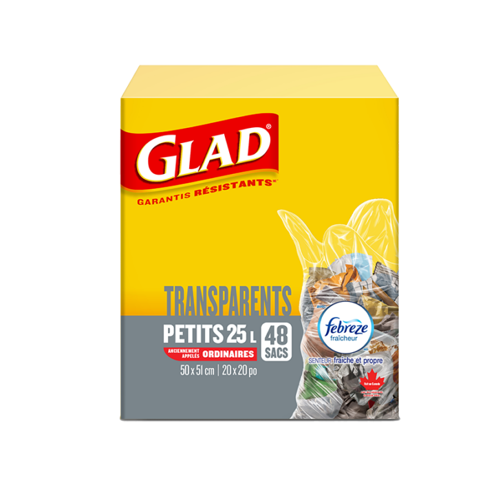 Petits sacs à ordures transparents de Glad avec senteur fraîche et propre de Febreze fraîcheur, boîte de 48 sacs à ordures de 25 L