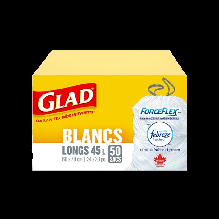 Sacs à ordures blancs longs ForceFlex de Glad à cordon coulissant avec senteur fraîche et propre de Febreze fraîcheur, boîte de 50 sacs à ordures de 45 L