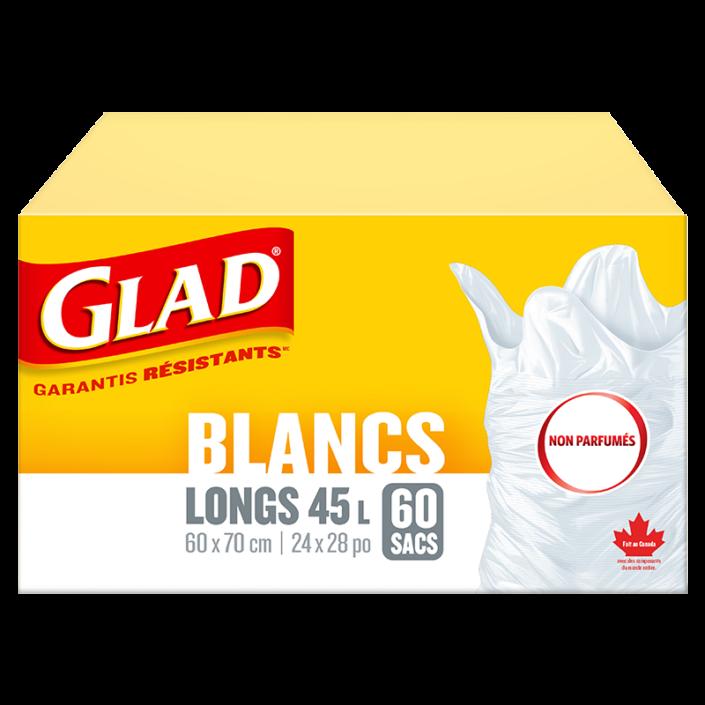 Sacs à ordures blancs longs non parfumés de Glad, boîte de 60 sacs à ordures de 45 L