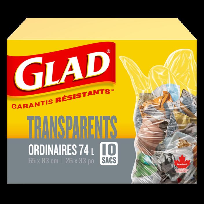 Sacs à ordures transparents ordinaires de Glad, boîte de 10 sacs à ordures de 74 L