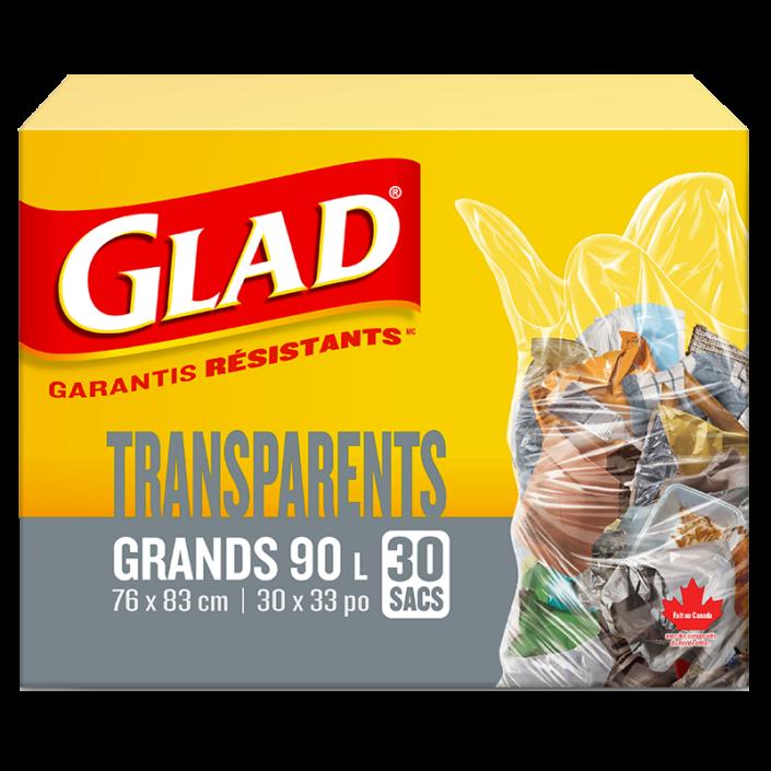 Grands sacs à ordures transparents de Glad, boîte de 30 sacs à ordures de 90 L